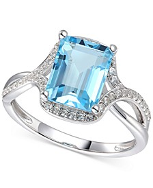 Blue Topaz (2-5/8 ct. t.w.) & Diamond (1/4 ct. t.w.) Statement Ring in 14k White Gold (also available in Mystic Topaz, Citrine & Rhodolite Garnet)
