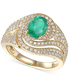 Emerald (1-1/4 ct. t.w.) & Diamond (3/4 ct. t.w.) Statement Ring in 14k Gold(Also Available In Certified Ruby & Sapphire)