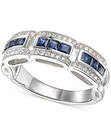 Sapphire (1 ct. t.w.) & Diamond (1/5 ct. t.w.) Ring in 14k White Gold (Also Available In Certified Ruby)