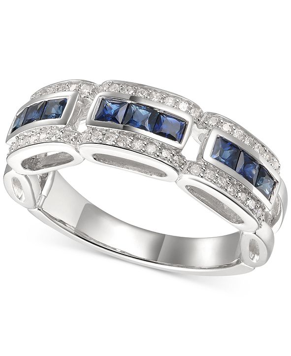 Macy's Sapphire (1 ct. t.w.) & Diamond (1/5 ct. t.w.) Ring in 14k White Gold (Also Available In Certified Ruby)