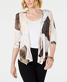 Alfani Printed Open-Front Cozy Cardigan, Created for Macy's