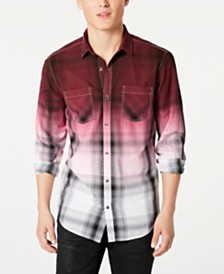 I.N.C. Men's Regular-Fit Dip-Dyed Plaid Shirt, Created for Macy's