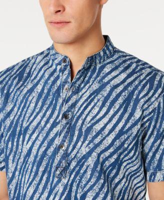 INC Men's Band Collar Zebra Print Shirt, Created for Macy's