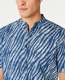 I.N.C. Men's Band Collar Zebra Print Shirt, Created for Macy's