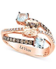 Le Vian® Peach Morganite (5/8 ct. t.w.), Sea Blue Aquamarine® (1/2 ct. t.w.), Chocolate Diamonds® (1/4 ct. t.w.), and Vanilla Diamonds® Accent Statement Ring in 14k Rose Gold