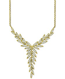 """Giani Bernini Cubic Zirconia Vine 18"""" Lariat Necklace in 18k Gold-Plated Sterling Silver, Created for Macy's"""