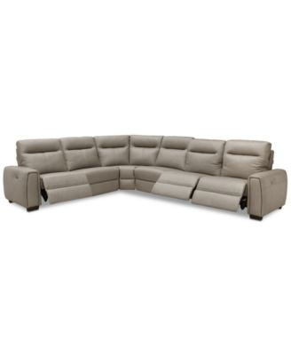 """Cheadle 6-Pc. Leather """"L"""" Sectional Sofa with 3 Power Recliners, Created for Macy's"""