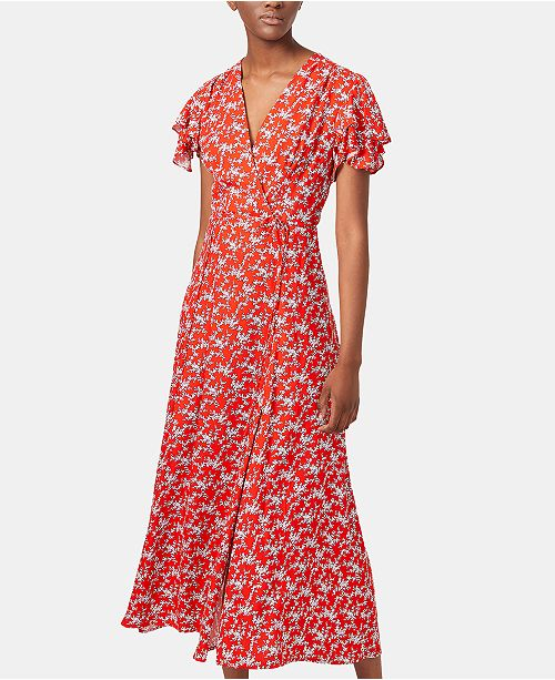 French Connection Printed Flutter-Sleeve Midi Dress