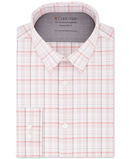 Calvin Klein Men's Extra-Fit Stretch Performance Non-Iron Temperature-Regulating Check Dress Shirt