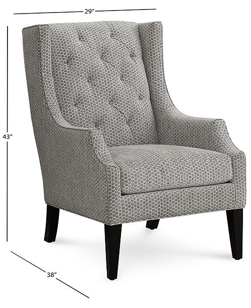 Remarkable Queenstin 29 Fabric Tufted Wing Chair Created For Macys Short Links Chair Design For Home Short Linksinfo