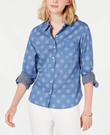Tommy Hilfiger Printed Roll-Tab Button-Up Top