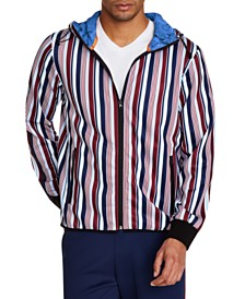 Tallia Men's Slim-Fit Stretch Multi Stripe Hoodie Jacket