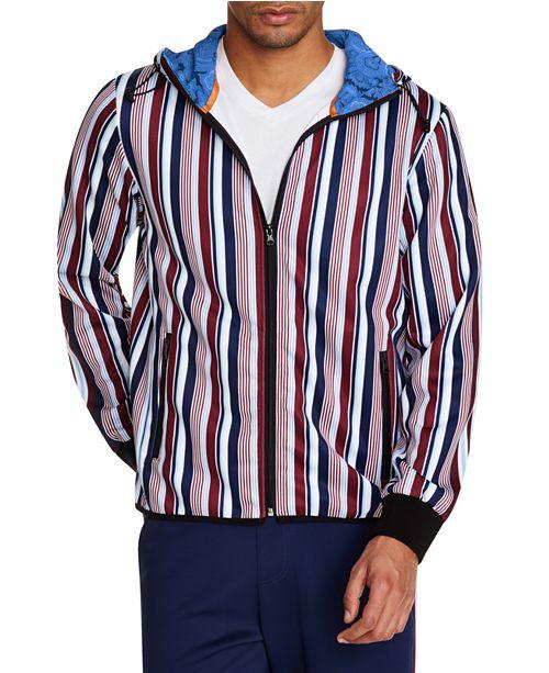 Tallia Men's Slim-Fit Stretch Multi Stripe Hoodie Jacket