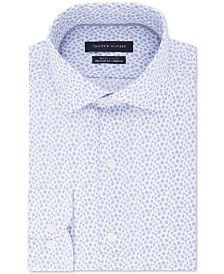 Tommy Hilfiger Men's Classic/Regular-Fit THFlex Stretch Non-Iron Floral-Print Dress Shirt