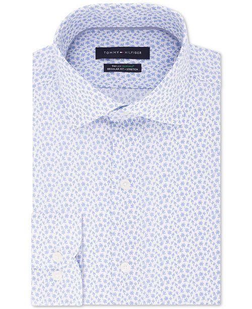 Tommy Hilfiger Men's Classic/Regular-Fit THFlex Stretch Non-Iron Floral-Print Dress Shirt