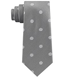 Men's Checkered Textured Dot Silk Tie