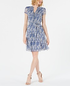 MSK Petite Short-Sleeve Floral Pintuck Dress