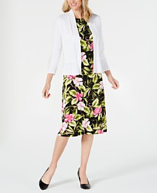 Kasper Ruffled-Hem Shrug & Hibiscus-Print A-Line Dress