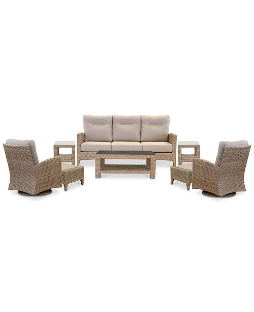 Admirable Grand Stafford Outdoor 8 Pc Seating Set 1 Sofa 2 Swivel Chairs 2 Ottomans 1 Coffee Table 2 End Tables With Sunbrella Cushions Evergreenethics Interior Chair Design Evergreenethicsorg
