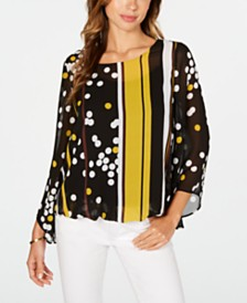 Alfani Dot-Print Bubble-Hem Top, Created for Macy's