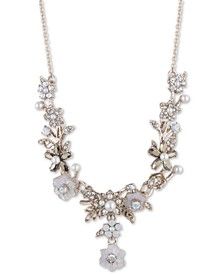 """Gold-Tone Crystal & Imitation Mother-of-Pearl Flower Lariat Necklace, 16"""" + 3"""" extender"""