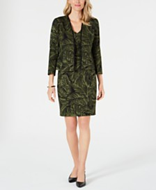 Kasper Printed Open-Front Jacket & Tie-Waist Sheath Dress