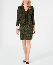 Kasper Printed Open-Front Jacket & Tie-Waist Sheath Dress