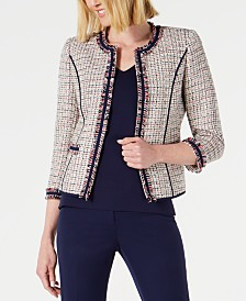 Anne Klein Cropped Fringe Jacket