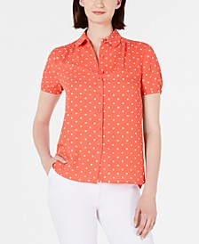 Button-Up Short-Sleeve Blouse
