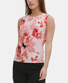 Calvin Klein Floral Pleat-Neck Top