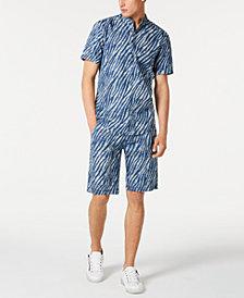 I.N.C. Men's Regular-Fit Zebra-Print Denim Shirt & Shorts, Created for Macy's