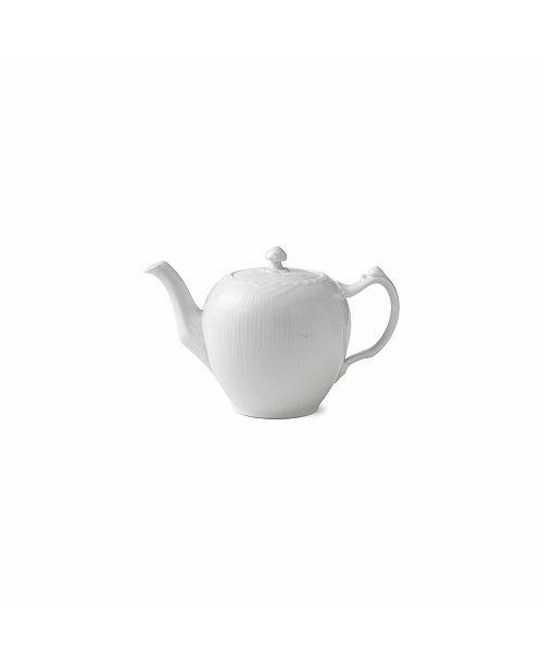 Royal Copenhagen White Fluted Half Lace Tea Pot