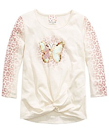 Big Girls Twist-Front Butterfly-Print Top