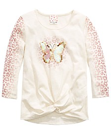 Belle Du Jour Big Girls Twist-Front Butterfly-Print Top