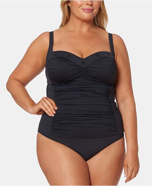 Bleu by Rod Beattie Plus Size Ruched Tankini Top & Plus Size High-Waist Swim Bottoms
