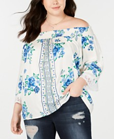 Derek Heart Trendy Plus Size Off-The-Shoulder Top