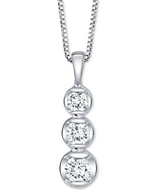 "Diamond Three Stone 18"" Pendant Necklace (1/3 ct. t.w.) in 14k White Gold"
