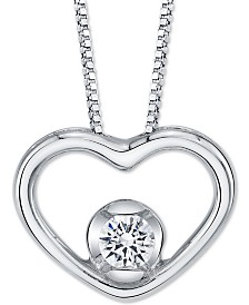 "Sirena Diamond Open Heart 18"" Pendant Necklace (1/8 ct. t.w.) in 14k White Gold"