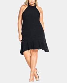 City Chic Trendy Plus Size Ruffle-Hem Halter Dress