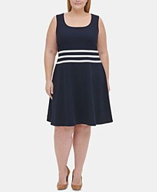 Plus Size Striped Fit & Flare Dress