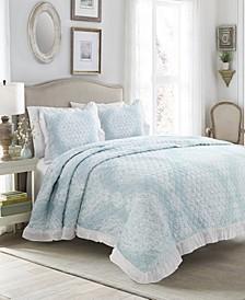 Lucianna Ruffle Edge Cotton 3Pc Full/Queen Bedspread Set