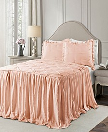 Ravello Pintuck Ruffle Skirt 3Pc Full Bedspread Set