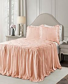 Ravello Pintuck Ruffle Skirt 3Pc King Bedspread Set