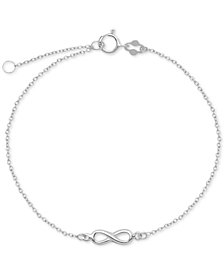 Infinity Symbol Chain Ankle Bracelet in Sterling Silver