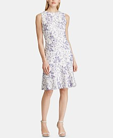 Lauren Ralph Lauren Floral-Print Sleeveless Lace Dress