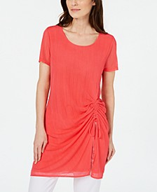 Illusion-Stripe Side-Ruched Tunic Top, Created for Macy's