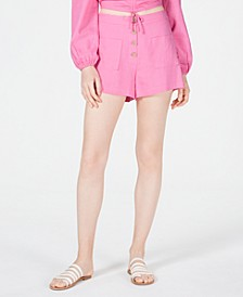 Button-Front High-Rise Shorts