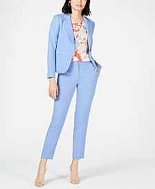 One-Button Blazer, Printed Blouse & Bi-Stretch Pants, Created for Macy's