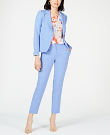 Bar III One-Button Blazer, Printed Blouse & Bi-Stretch Pants, Created for Macy's