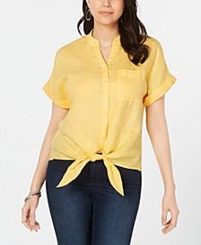Linen Tie-Front Shirt, Created for Macy's